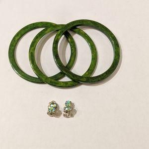 Green Bangle Bracelets With Earrings